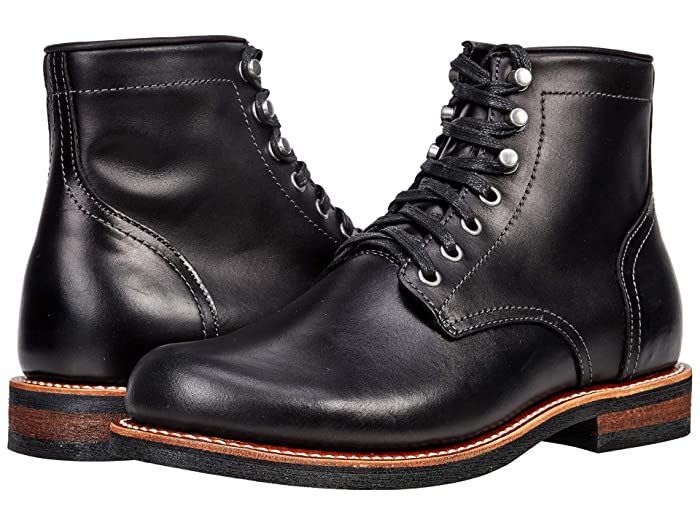 1920s Style Mens Shoes | Peaky Blinders Boots Georgia Boot Small Batch 6 Plain Toe Stacked Heel $184.99 AT vintagedancer.com