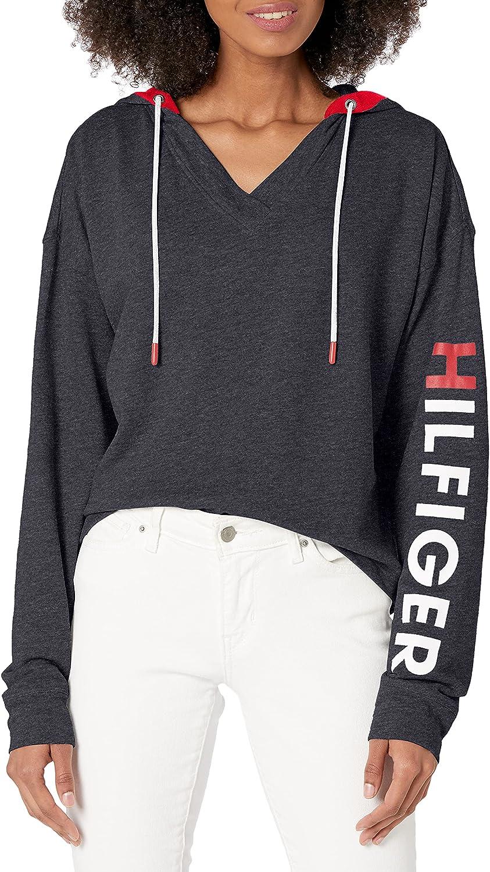 Tommy Hilfiger Women's Retro Style Lounge Hoodie Sweatshirt Sweater with Hilfiger Logo Pj
