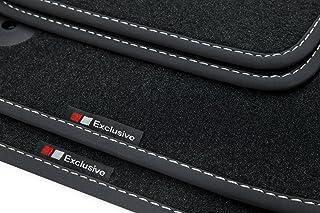 teileplus24 EF106 Fußmatten Gummimatten Exclusive line Design Bandeinfassung Ziernähte, Naht:Silber