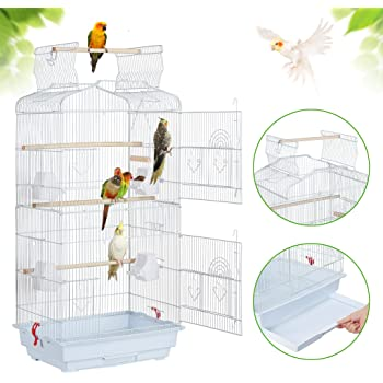 YAHEETECH 41-inch Open Top Medium Parakeet Bird Cages for Parakeets Finches Canaries Lovebirds Small Quaker Parrots Cockatiels Budgie Green Cheek Conure Travel Pet Flight Bird Cage Birdcage