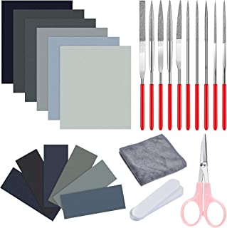 Akamino 26 Pieces Resin Casting Kits - Include Sand Papers Polishing Cloth Polishing Sticks Various Shapes Files and Sciss...