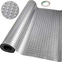 Happybuy Garage Floor Mat 15.4 x 3.6 Ft Garage Flooring 2.5mm Thickness Silver Garage Mat PVC Garage Floor Mats for Under ...