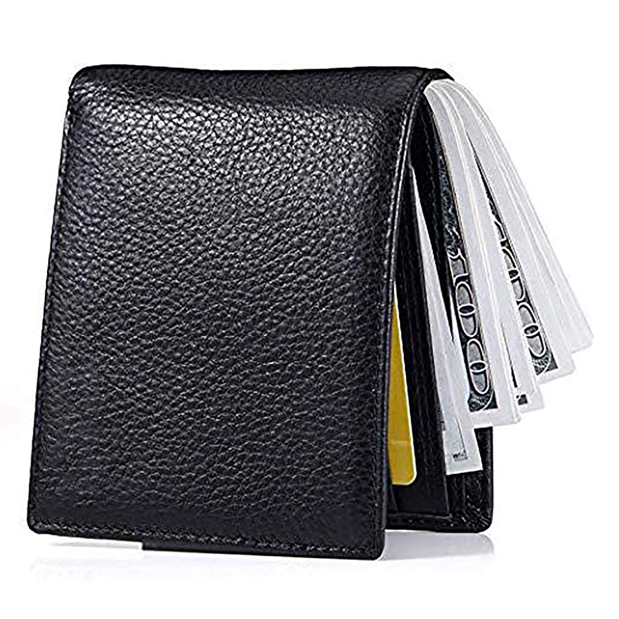 Men's Wallet, Ultra Slim Bifold Leather Wallet with Money Clip Protection Currency Pockets for ID Card, Credit Card, Business Cards, Cash With Gift Box