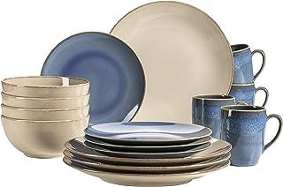 MÄSER 931872 Série Ossia Service de table 16 pièces pour 4 personnes Style méditerranéen vintage Service de table 16 pièce...