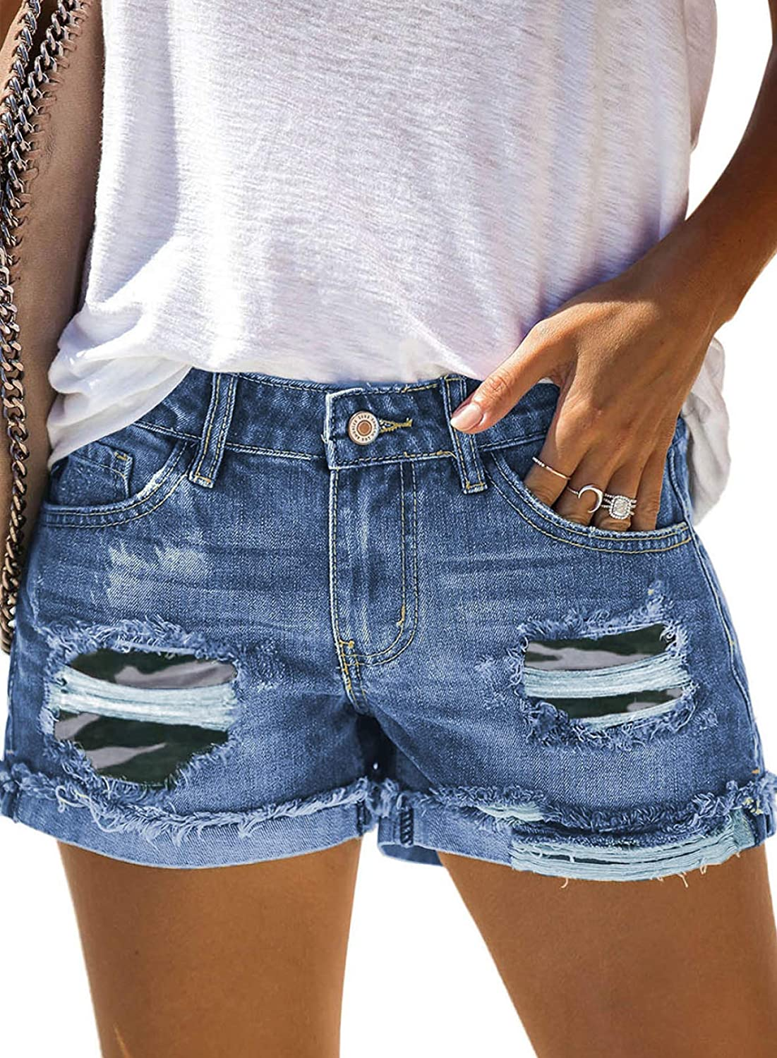 Happy Sailed Womens Ripped Denim Jean Shorts Casual Mid Rise Folded Hem Jeans Shorts with Pocket(S-XXL)