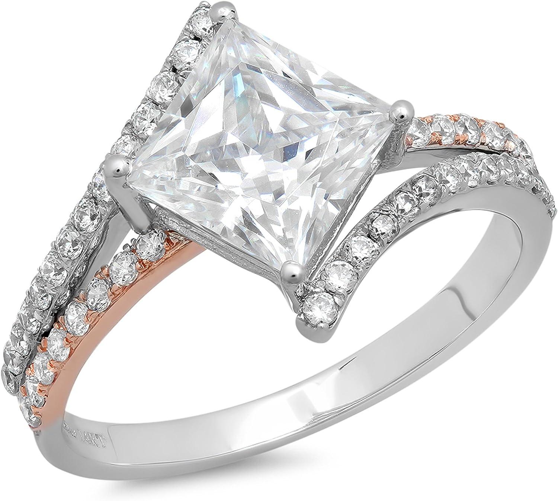 2.45ct Princess Cut Criss Cross Split Shank Solitaire Accent Genuine Moissanite Ideal VVS1 & Diamond Simulant Engagement Promise Statement Anniversary Bridal Wedding Ring Solid 14k 2 tone Gold