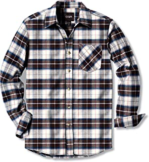 Men's All Cotton Flannel Shirt, Brushed Soft Casual...