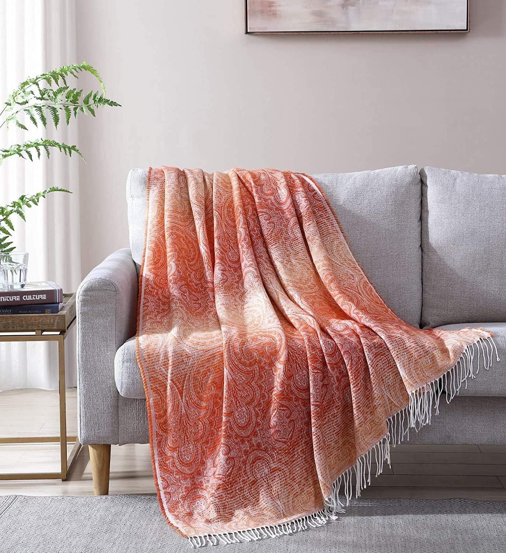 Woven Throw Blanket Orange Floral Super Soft Lightweig Medallion Max security 60% OFF
