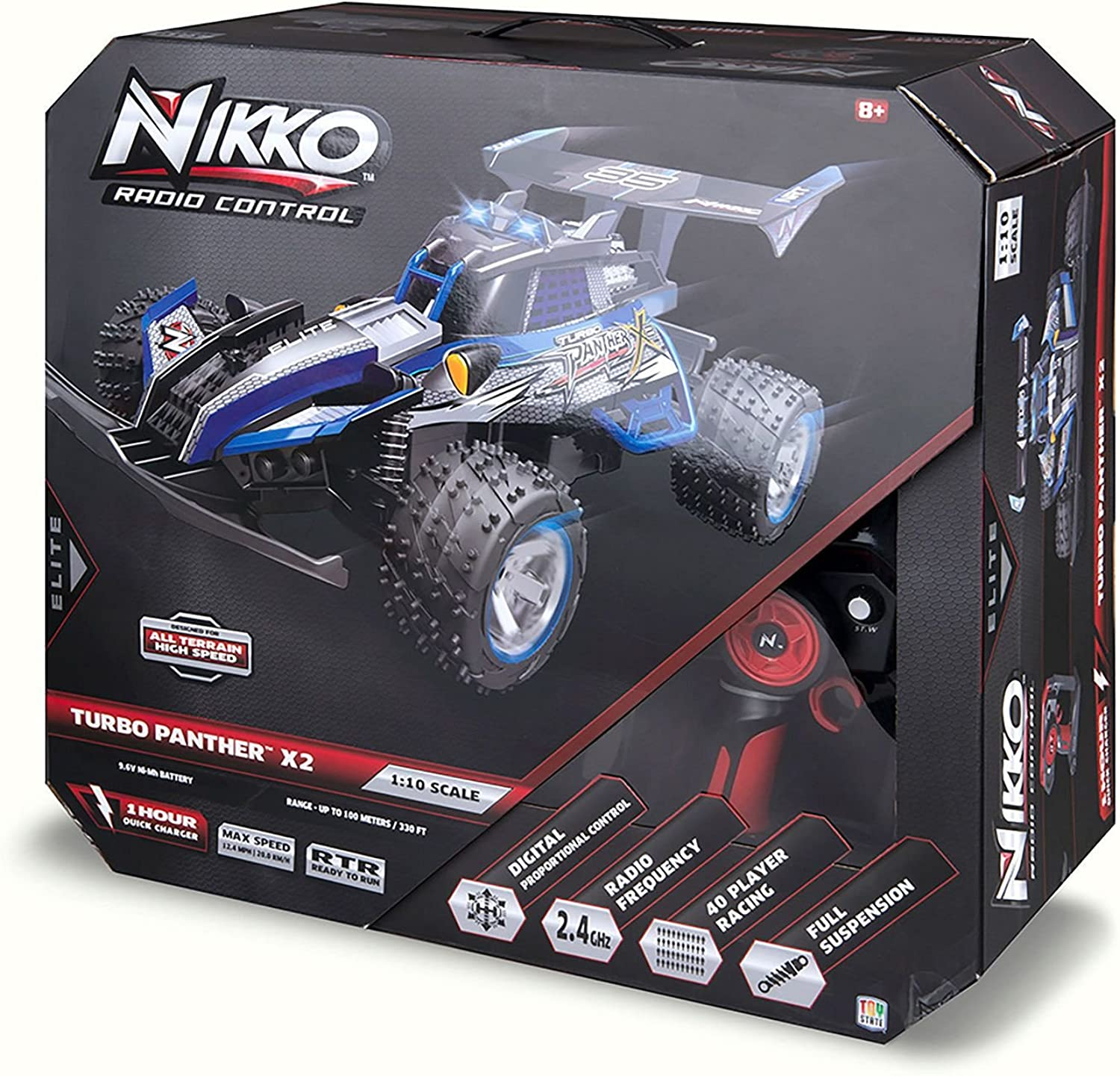 Toy State Nikko Turbo Panther X2 bluee 1 10 Scale Radio Control (FFP) Vehicle by Toystate