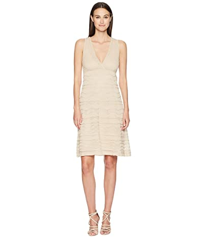 M Missoni Solid Rib Stitch V-Neck Dress (Nude) Women
