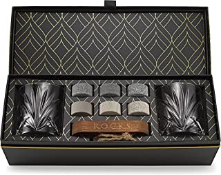 Whiskey Steine Set - 6 Handgefertigte Runde Granit Whisky Steine - 2 Whisky Gläser - Präsentations- und Aufbewahrungsbrett aus Hartholz - Whisky Geschenkset Box mit Goldfolie von Rocks