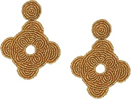 Gold Seedbead Odd Round Shape Pierced Earrings
