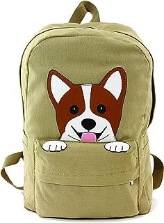 Sleepyville Critters - Peeking Corgi Dog Canvas Backpack