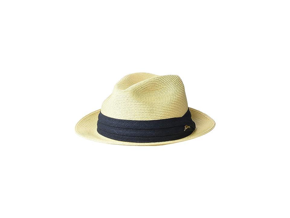 Tommy Bahama Fine Braid Toyo Fedora (Natural 2) Caps