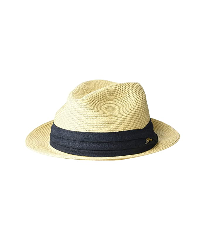 Tommy Bahama Fine Braid Toyo Fedora (Natural 2) Caps