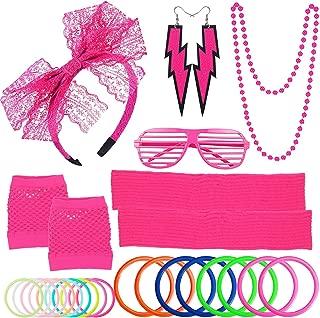 80s Women's Costume Outfit Accessories Set Headband Earrings Fishnet Gloves Necklace Bracelet Leg Warmers Pink