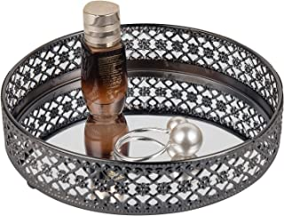 Feyarl Mirrored Vanity Makeup Tray Ornate Jewelry Trinket Round Tray Organizer Cosmetic Perfume Bottle Tray Decorative Tray Home Deco Dresser Skin Care Tray Storage (Black)
