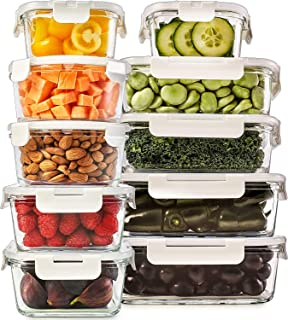 Glass Food Storage Containers with Lids - Glass Meal Prep Containers Glass Containers For Food Storage with Lids 20 Pcs. Glass Storage Containers with Lids Glass Food Containers Glass Lunch Containers