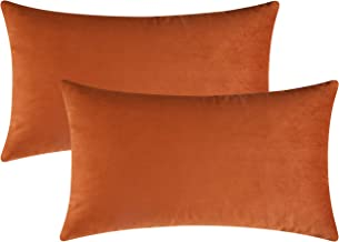 Mixhug Set of 2 Cozy Velvet Rectangle Decorative Throw Pillow Covers for Couch and Bed, Burnt Orange, 12 x 20 Inches