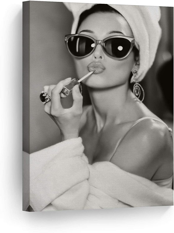 SmileArtDesign Audrey Hepburn Style Makeup OFFicial store Print Lipstick Philadelphia Mall Canvas