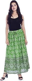 Handicraft-Palace Rayon Women's Long Bhandej Print Skirt (Green)