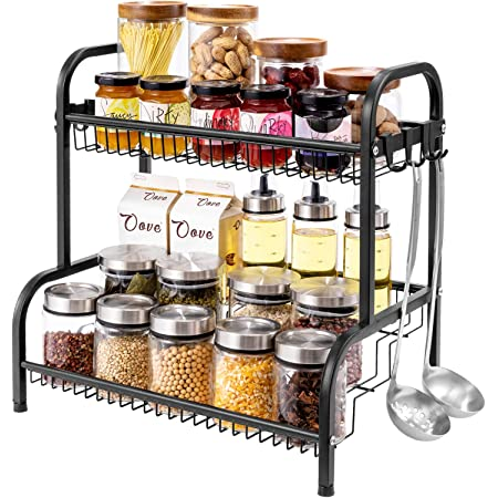 Oyydecor Spice Rack ,Spice Rack Organizer for Countertop 2 Tier Kitchen Spice Rack Spice Organizer Standing Rack Shelf Storage Racks Kitchen Rack for Spice Can Sauce With 8 Hooks