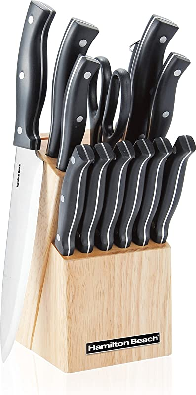 Hamilton Beach 14 Piece ABS Full Tang With Rivets Rubber Wood Veneer Block Cutlery Set 2 2mm Silver