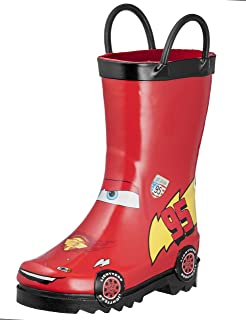 Disney Cars Kids Boys' Lightening McQueen Character Printed Waterproof Easy-On Rubber Rain Boots (Toddler/Little Kids)