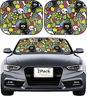 MSD Car Sun Shade Windshield Sunshade Universal Fit 2 Pack, Block Sun Glare, UV and Heat, Protect Car Interior, Image ID: 12137343 Cute Monsters Cats and Skulls in Love