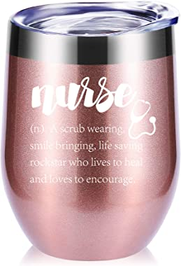 Nurse Definition 12 OZ Wine Glasses Tumbler.Gifts for Nurse.Birthday,Christmas,Graduation Gifts for Friends,Daughter,Men,Wome