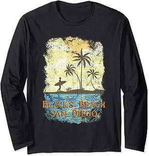 Biarritz France Vintage Tropical Sunset Beach Surfing Long Sleeve T-Shirt