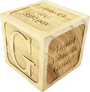 """Custom Engraved Big Wood Baby Birth Block (2.5"""") Personalized Gift for Your Baby - New Baby Gifts, Newborn Gifts, Birth Announcement"""