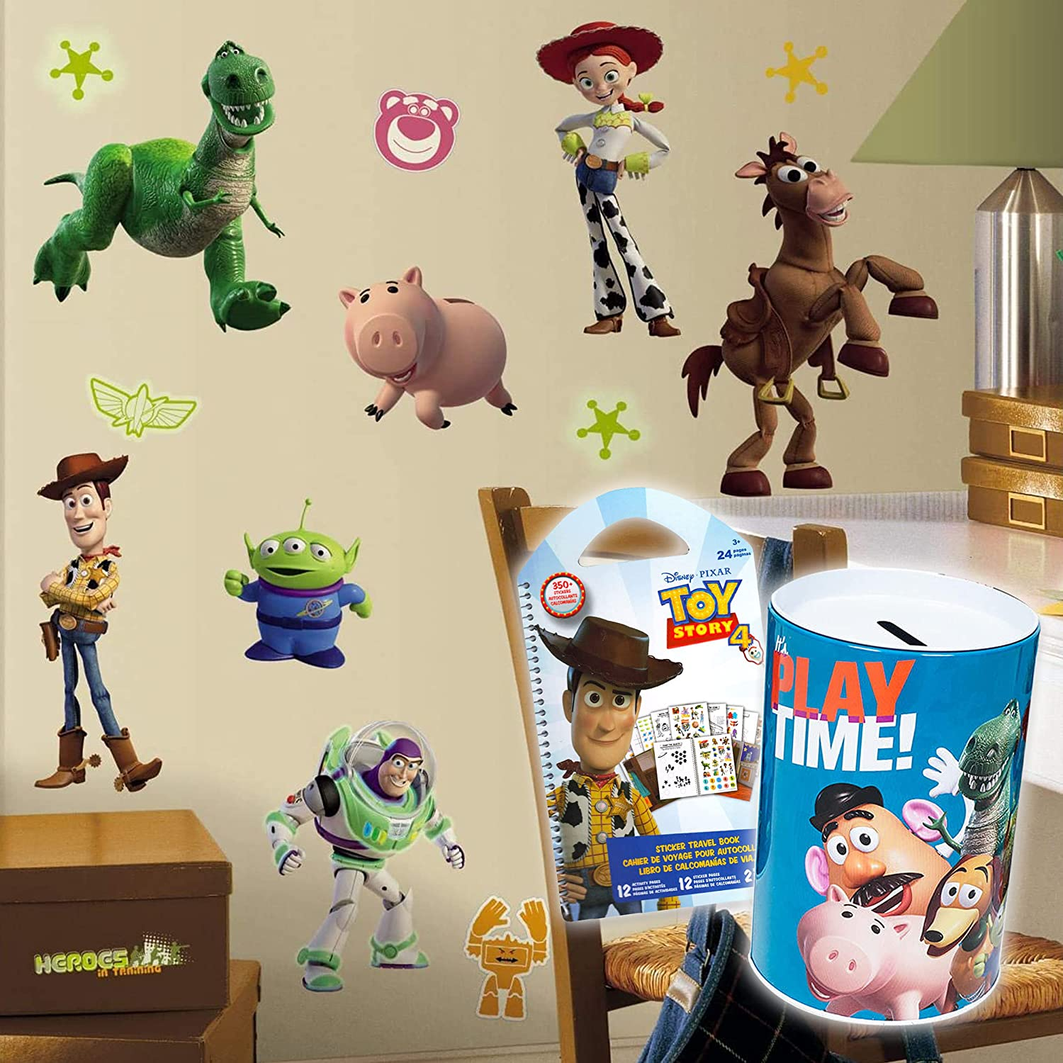 RoomMates Toy Story Wall Decals Bundle ~ 34 Pc Glow in The Dark Toy Story Room Decor Toy Story Decal Set with Toy Story Piggy Bank and 350+ Stickers! (Toy Story Room Decorations)