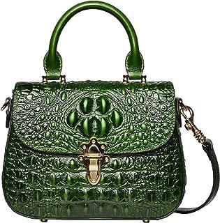 PIJUSHI Leather Crossbody Shoulder Bags for Women Crocodile Satchel Handbag