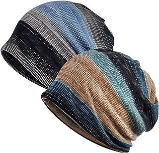 Unisex Soft Beanie Cap Striped Slouchy Chemo Hat Turban Cozy Skull Cap Lightweight Stretch Sleep Hat for Men Women
