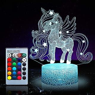 Unicornio luz nocturna para niños, juguetes de unicornio para niña, 16 colores cambiantes lámpara de noche con mando a distancia 1171