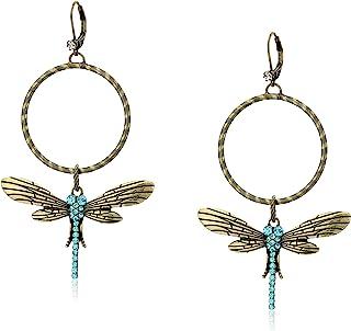 Pave Dragonfly Gypsy Hoop Earrings