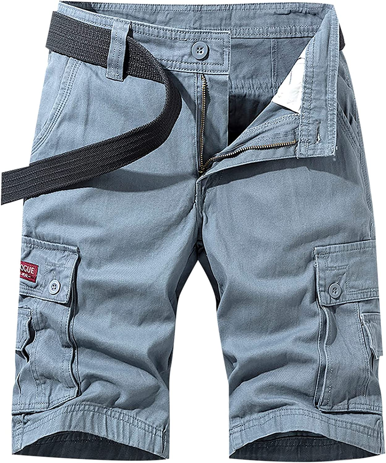 Men's Cotton Cargo Shorts with Multi Pockets,Plus Size Loose Fit Comfy Workout Summer Tooling Shorts with Side Slings