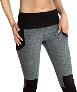 Elan Array High Waisted Leggings With Pockets. Womens Leggings With Black And Gray Design.