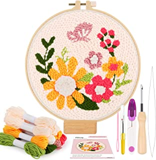 Pllieay Punch Needle Embroidery Starter Kits include Instructions, Punch Needle Fabric with Floral Pattern, Yarns, Embroid...