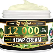 Hemp Cream - 12000 mg / 4 oz - Natural Seed Oil Extract for Knee, Lower Back, Foot, Muscle, Wrist and Joint Pain Relief - Extra Strength Massage Lotion with Arnica, Menthol and Organic Oils