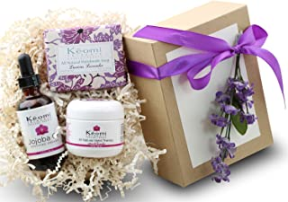 Lavender Organic Handmade Bath & Body Gift Set - by KEOMI NATURALS - Pamper Them w/All Natural Luxury! - WONDERFUL CHRISTMAS GIFT! - 100% Pure Essential Oils - Beautifully Packaged Ready to Give