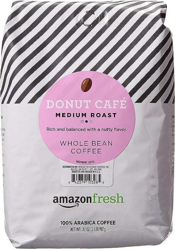 AmazonFresh Donut Cafe Whole Bean Coffee Medium Roast 32 Ounce