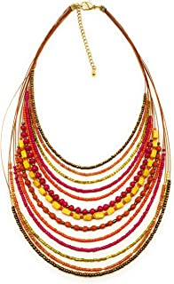 DCA Red Silver Multi Wire Glass Necklace (4464)