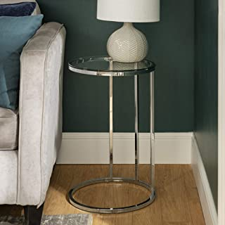 WE Furniture AZF16RCSTGL Modern Round Side End Accent Table Living Room, C, Glass/Chrome