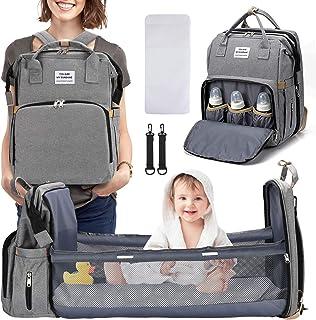 TOMENGBEI - Mochila para pañales con cambiador (3 en 1), bolsa de pañales con cuna de viaje plegable para bebé, incluye bolsillo aislado, bolsa de pañales de gran capacidad, cuna para niños, niña (gris)