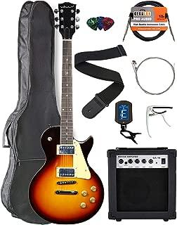 Vault LP1 Ovangkol Fretboard Electric Guitar - Tobacco Sunburst Bundle with Amplifier, Instrument Cable, Gig Bag, Strap, Capo, Tuner, Strings, and Picks