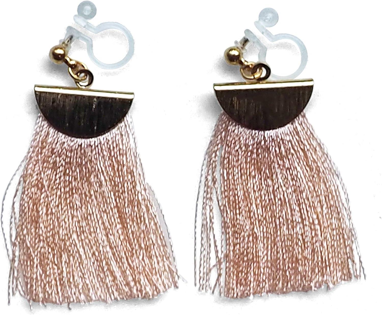 Miyabi Grace Women White Fringe Invisible Clip On Dangle Earrings Coin Tassel Gold tone