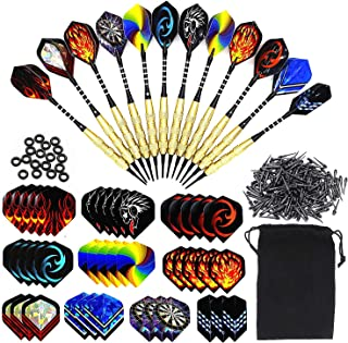 Roobeeo Soft Tip Darts 12 Pcs 18g Plastic Tip Darts Set with Brass Steel Barrels&Aluminum Shafts and 200 Extra Dart Tips 42 Dart Flights 20 Extra Rubber Rings for Electronic Dart Board&Christmas Gift