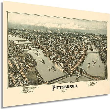 HISTORIX Vintage 1902 Pittsburgh Pennsylvania Map Poster - 18x24 Inch Vintage Pittsburgh Map Art - Panoramic Bird's Eye View of Pittsburgh Wall Art - Map of Pittsburgh City PA Wall Decor (2 Sizes)